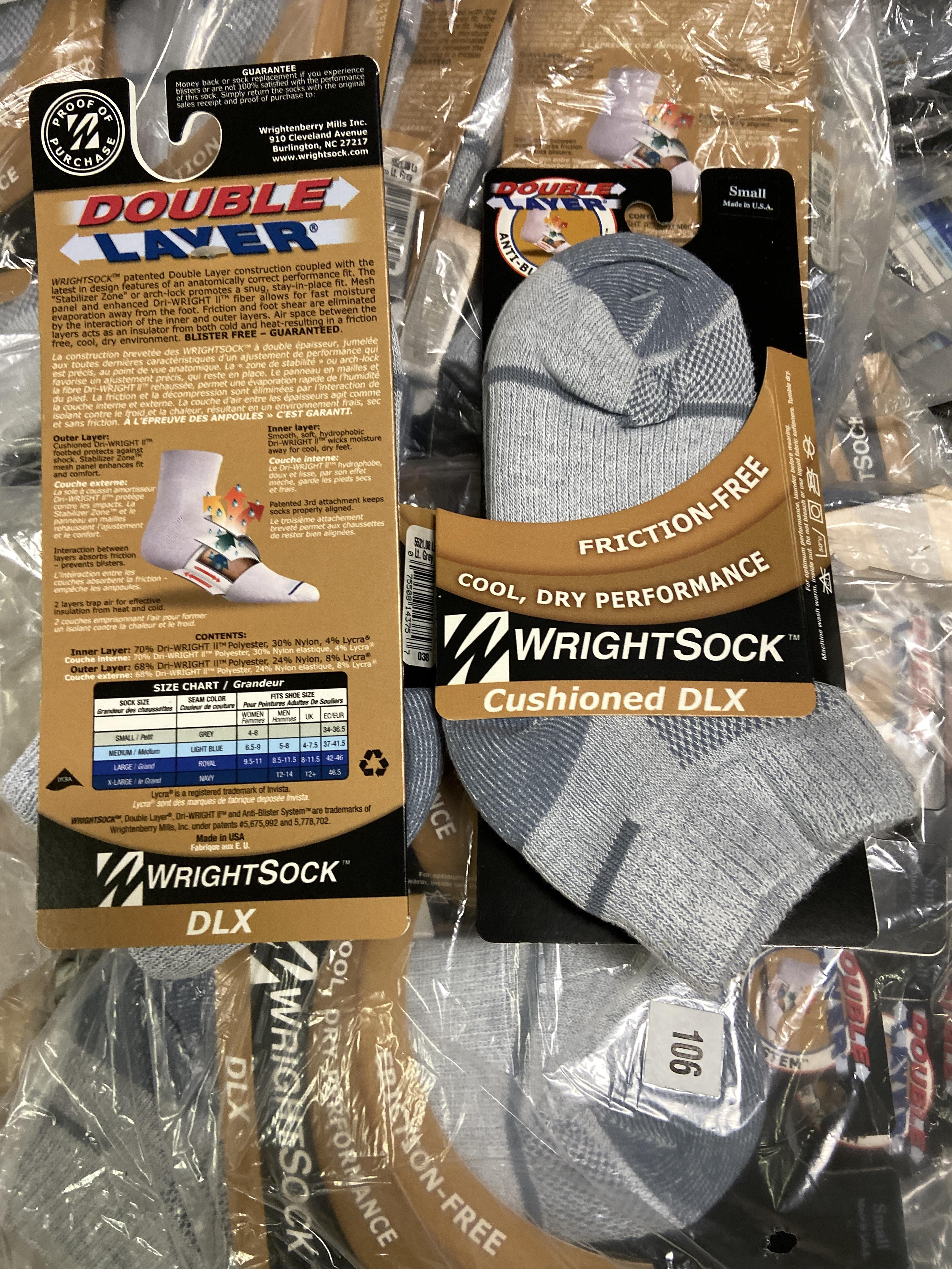 Lot 34 - 250+ packs of New Socks, Wrightsocks Cushioned DLX, Gray Lot includes approximately 250 packs of