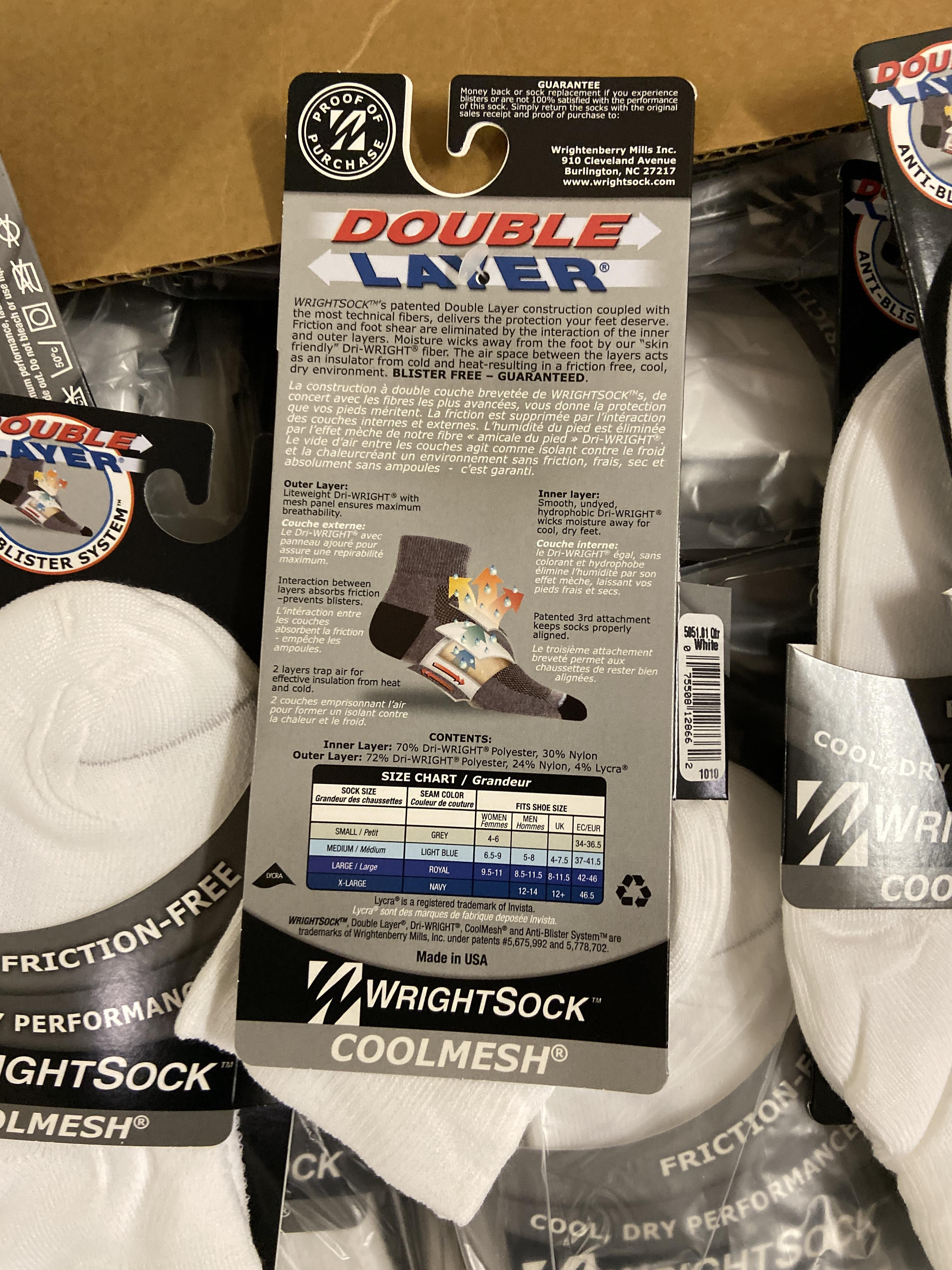 Lot 6 - 250+ packs of New Socks, Wrightsock Coolmesh, Double Layer, White Each lot has approx 250 packs,