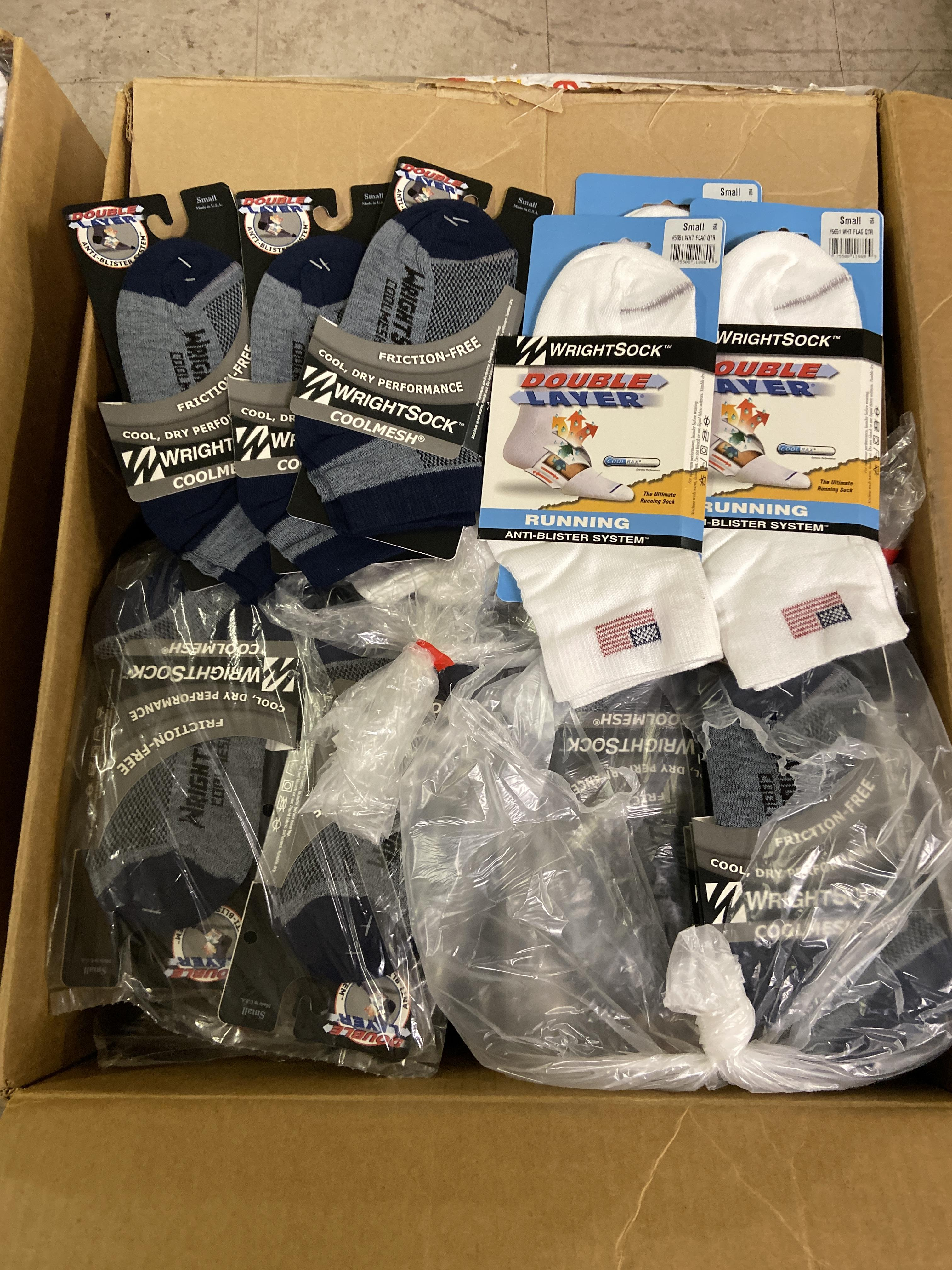 Lot 12 - 250+ packs of New Socks, Wrightsock Running and Coolmesh, Double Layer, Various Colors Lot is