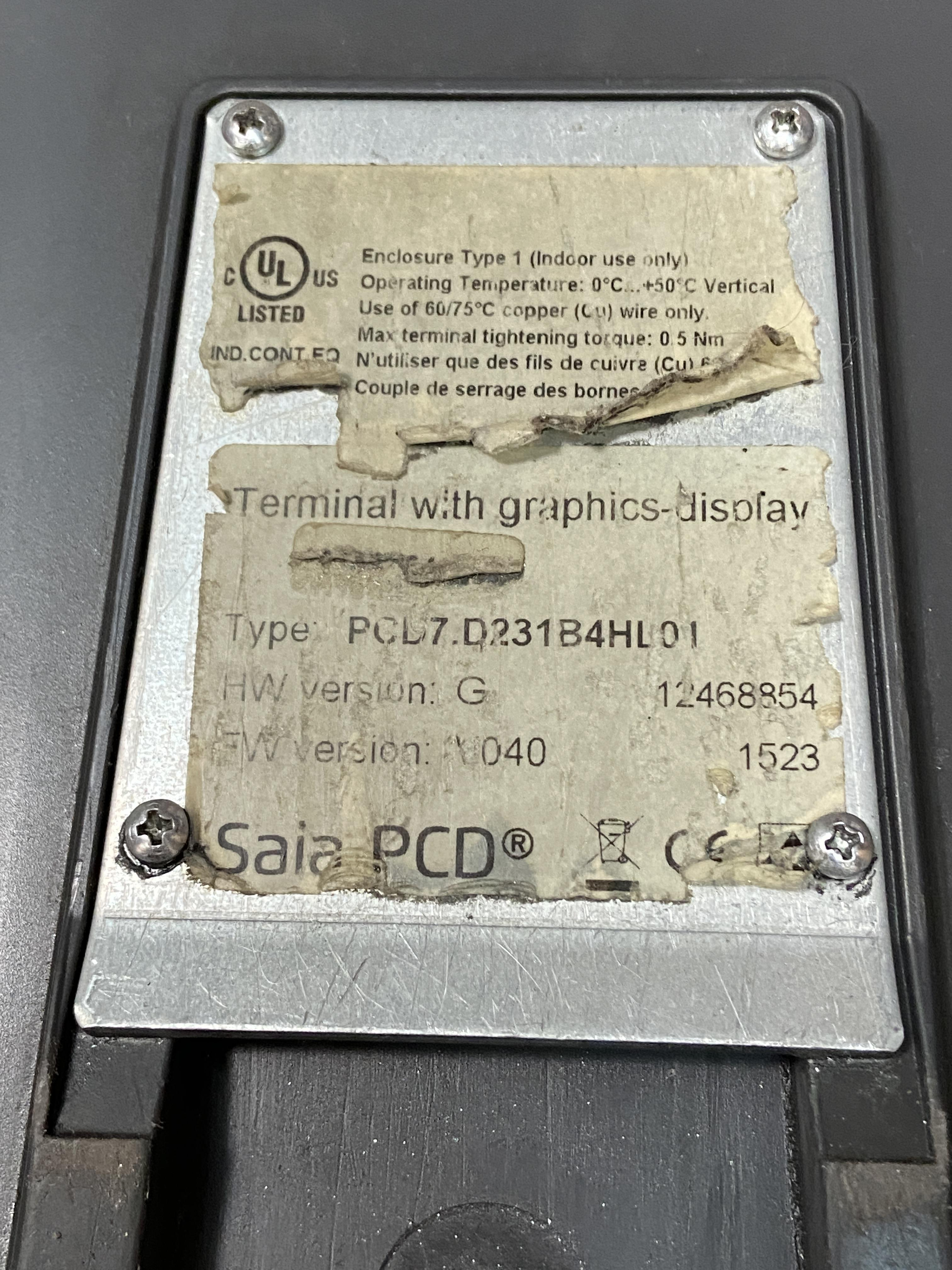 Lot 1Q - LNS Terminal With Graphics Display Control with Cables PCD7.D231B4HL01 SAIA PCD