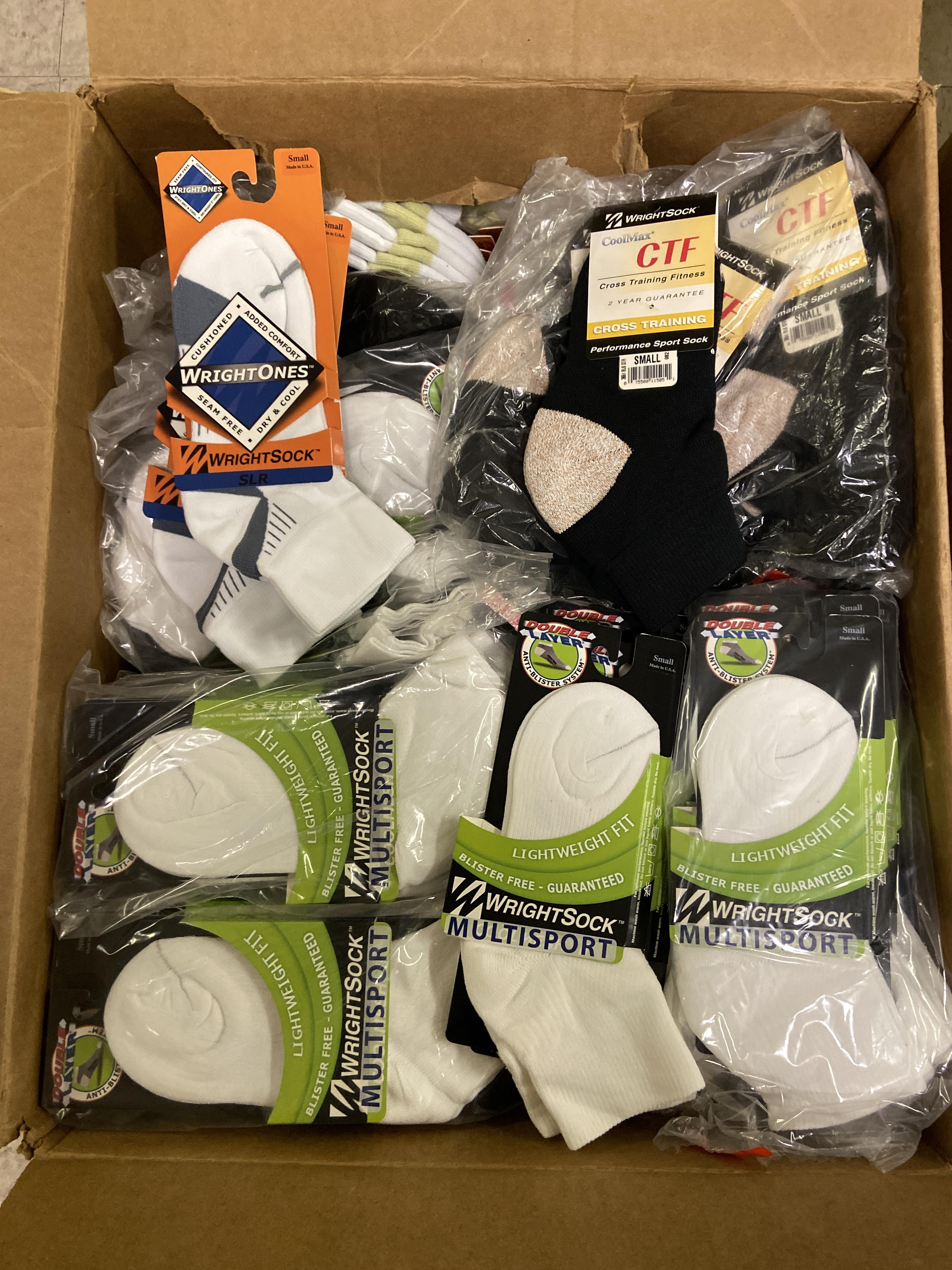 Lot 24 - 250+ packs of New Socks, Wrightsock Various Styles, Various Colors Lot includes approximately 250