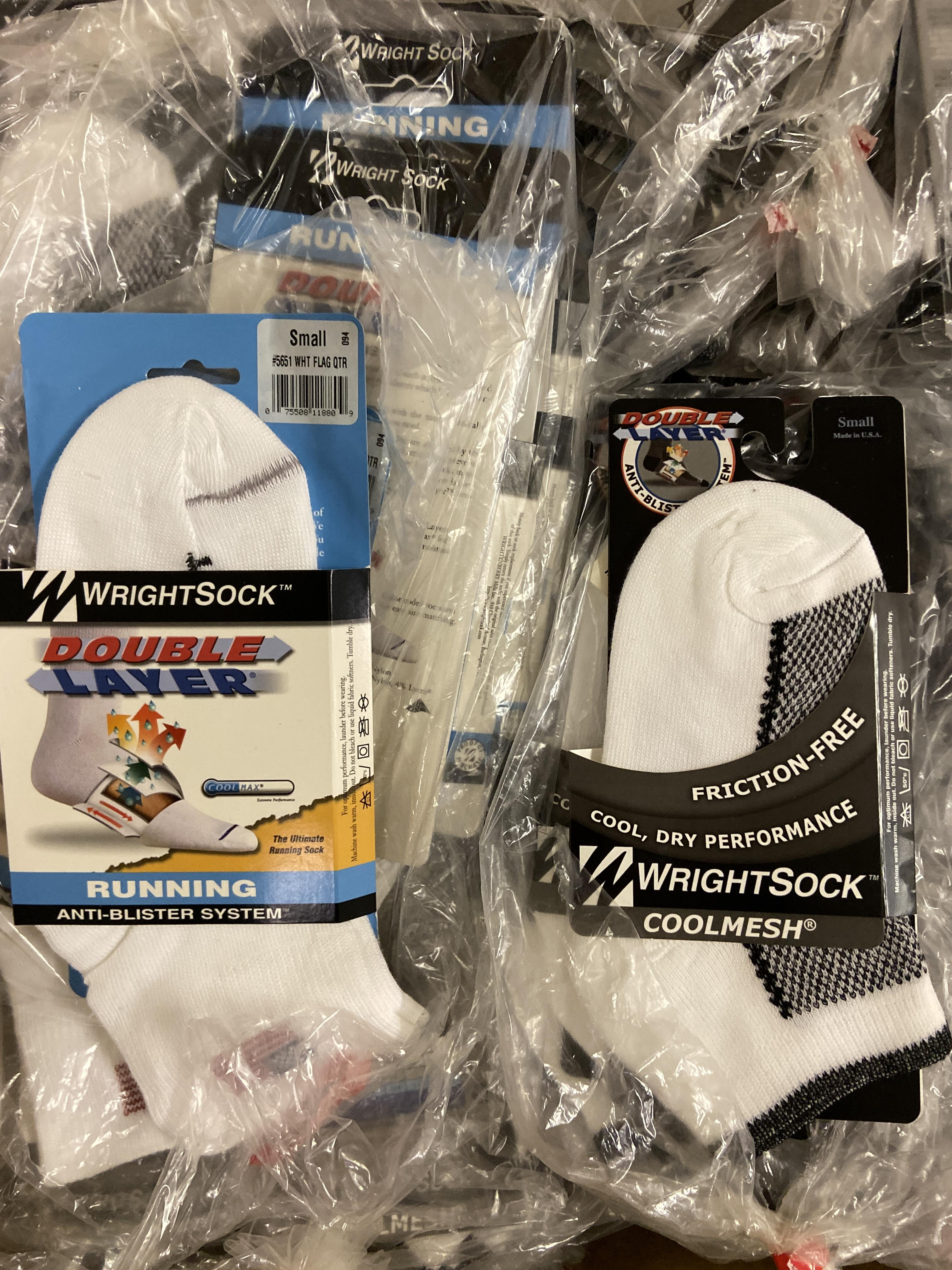 Lot 16 - 250+ packs of New Socks, Wrightsock Coolmesh and Running, Double Layer, USA America Flag and White/