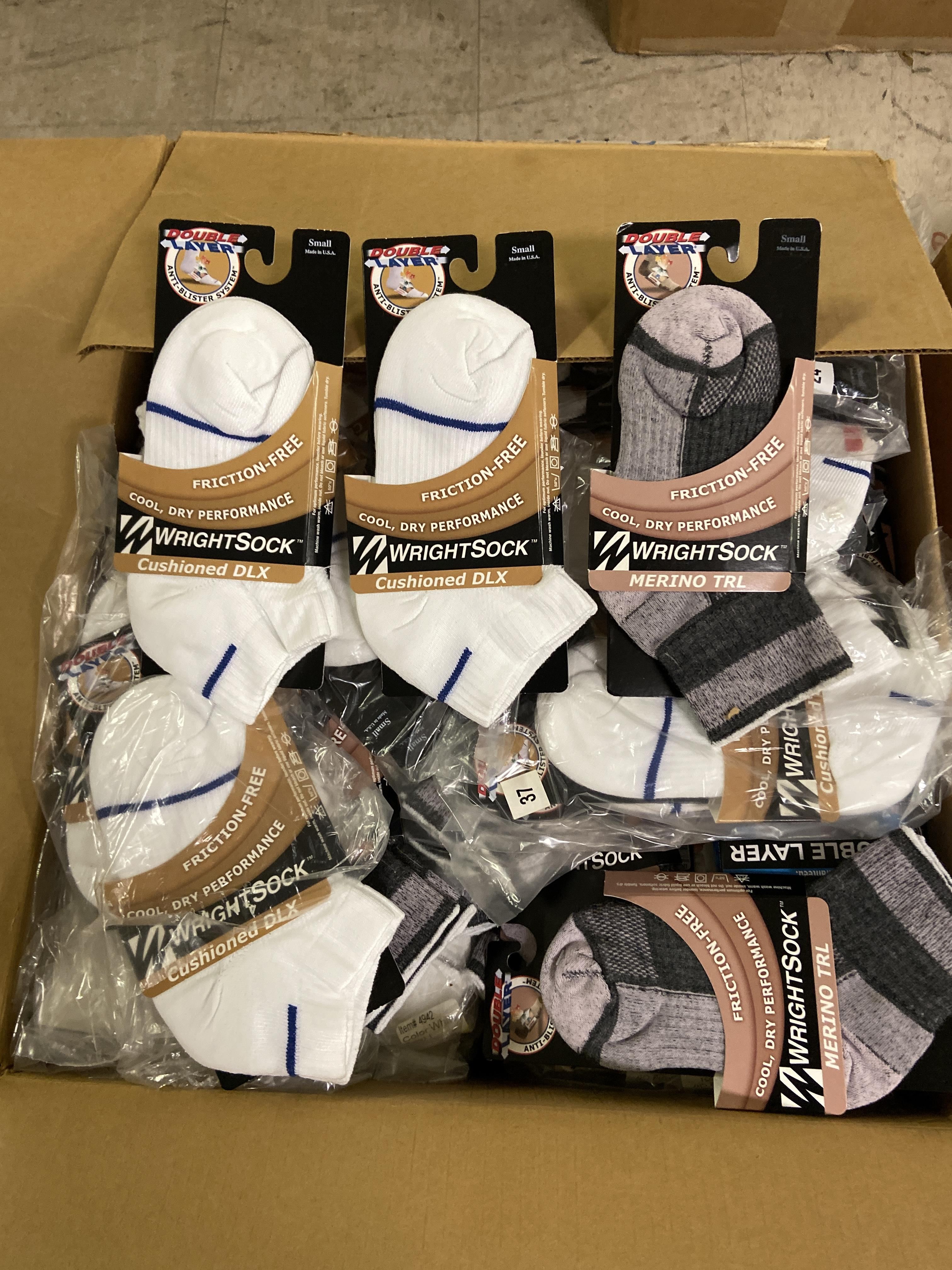 Lot 11 - 250+ packs of New Socks, Wrightsock Cushioned DLX and Merino TRL, Double Layer, Various Colors Lot