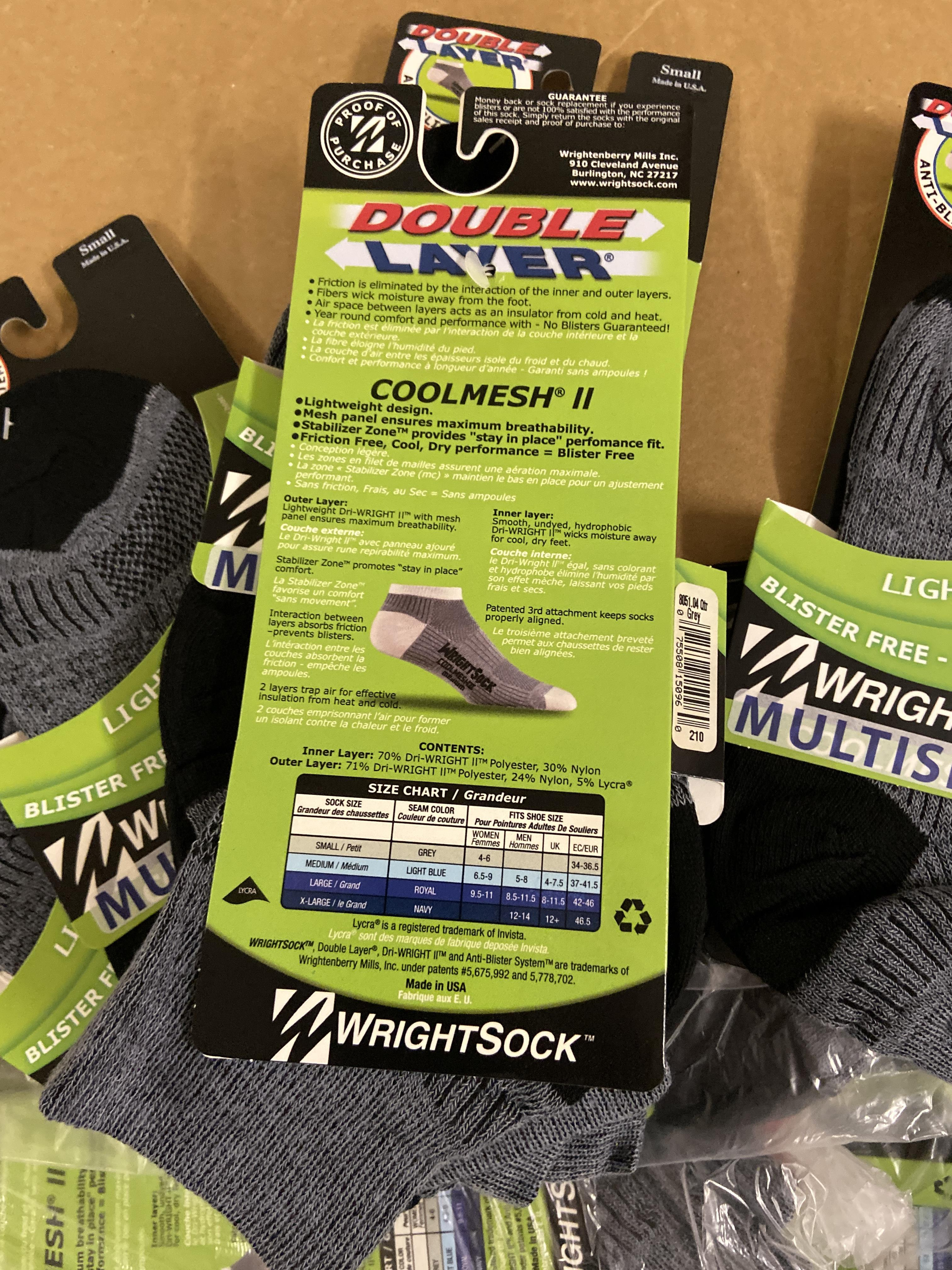 Lot 7 - 250+ packs of New Socks, Wrightsock Multisport, Double Layer, Gray/Black Lot has approx 250 packs,