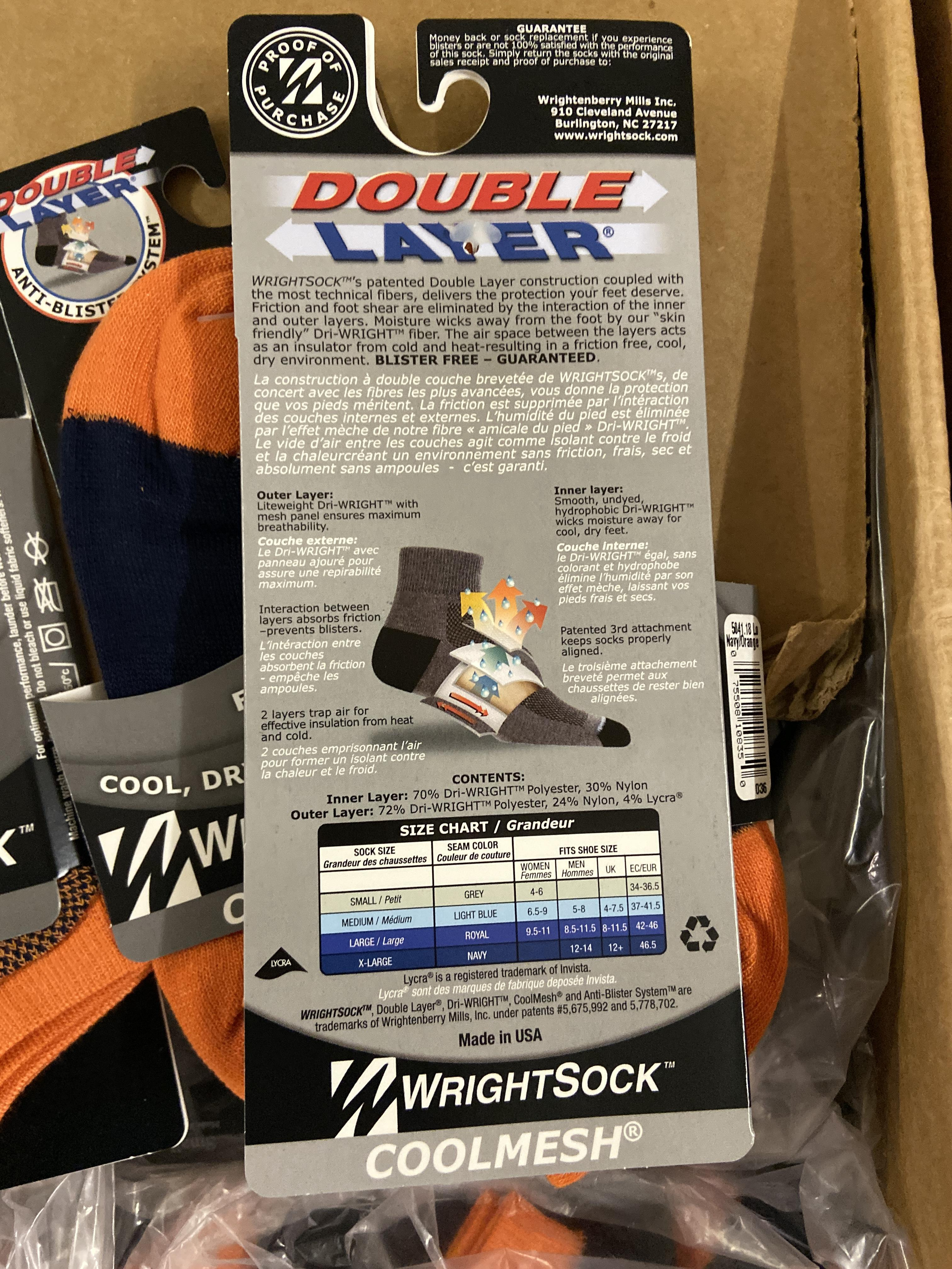 Lot 8 - 250+ packs of New Socks, Wrightsock Coolmesh, Double Layer, Orange/Black Lot has approx 250 packs,