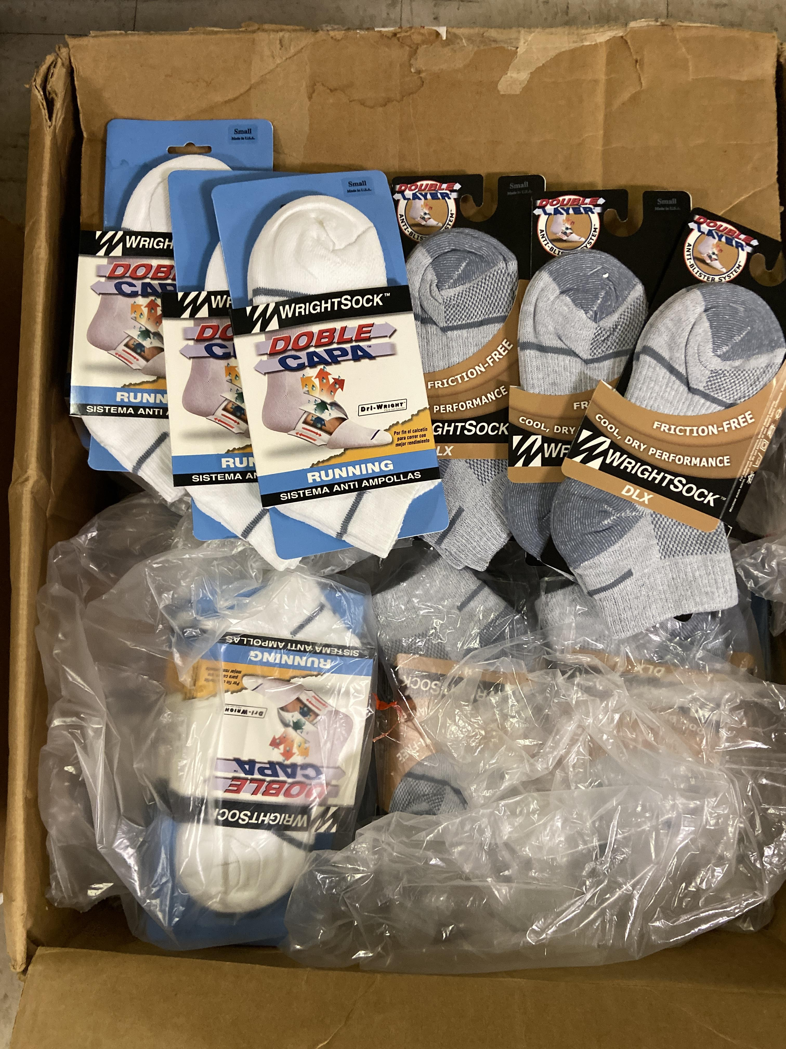 Lot 30 - 250+ packs of New Socks, Wrightsocks Running and DLX, Double Layer, White and Gray Lot includes