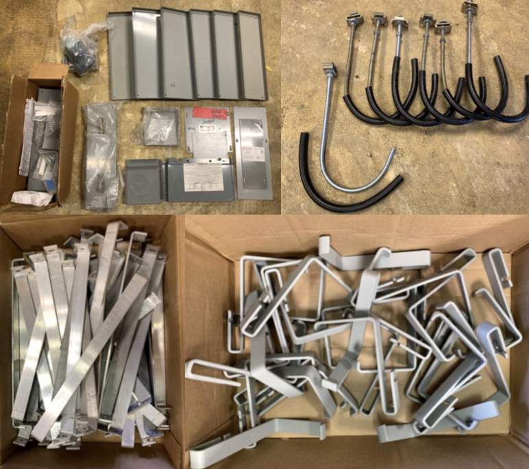 Lot 1O - WIRE GUARD SYTEMS ELECTRIC JUNCTION BOX COMPONENTS AND PARTS; CADDY ELECTRICAL CABLE SUPPORTS 25+,