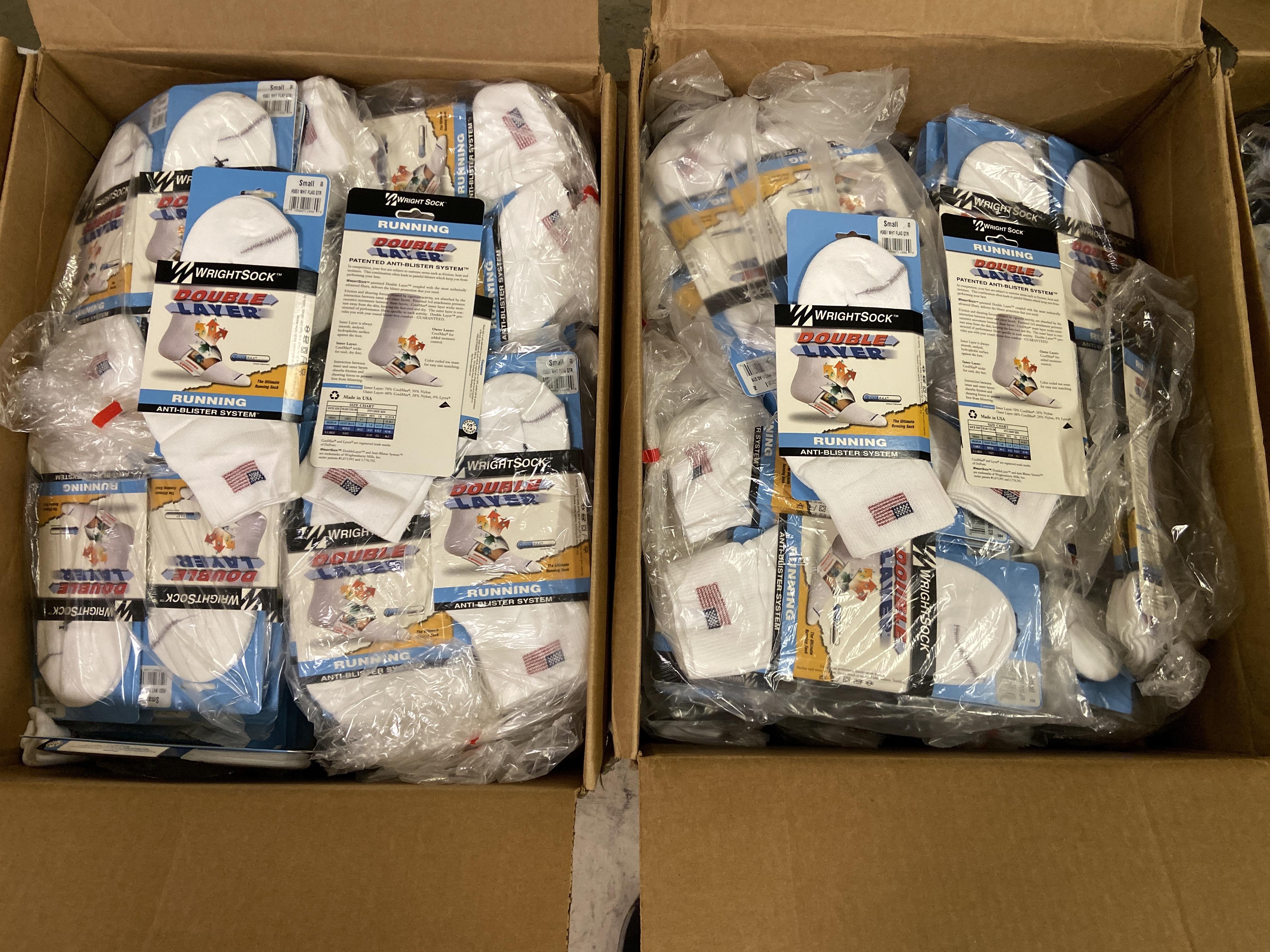 Lot 17 - 500+ packs of New Socks, Wrightsock Running, Double Layer, USA America Flag White Lot is