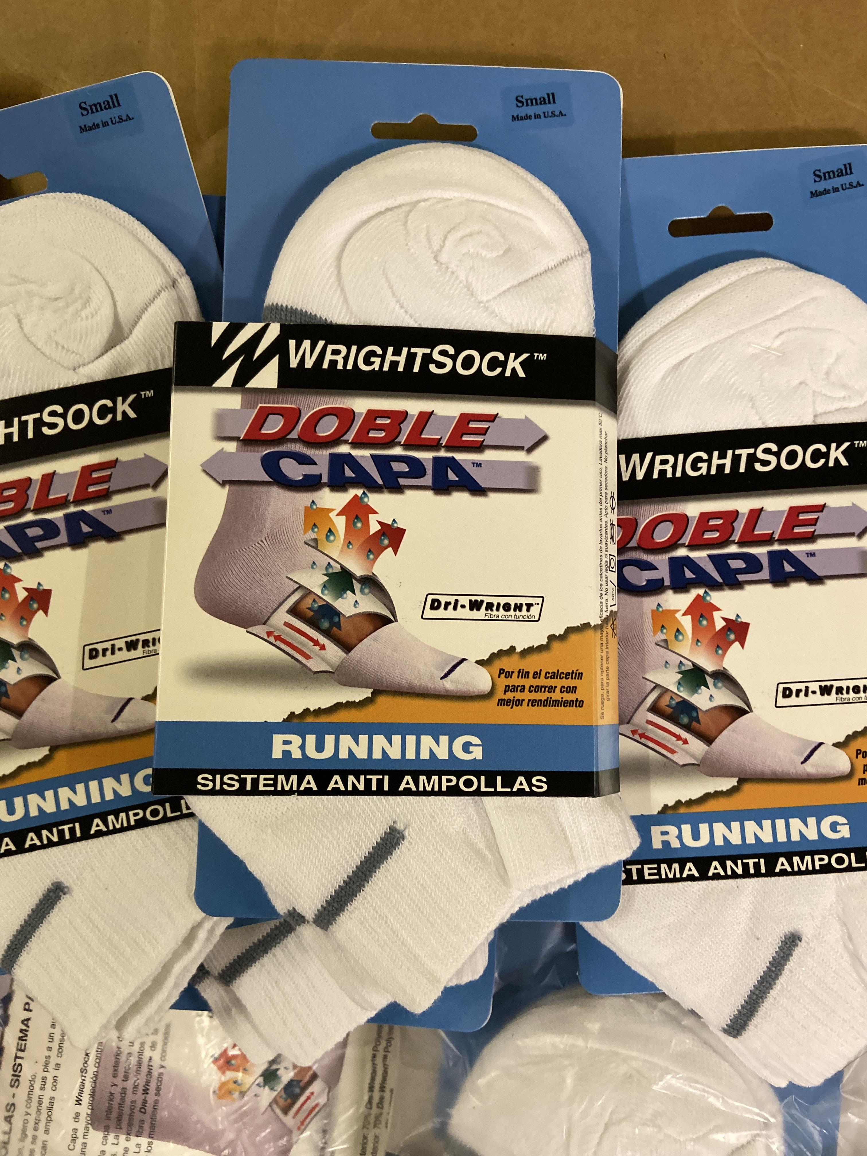 Lot 10 - 500+ packs of New Socks, Wrightsock Running and Coolmesh, Double Layer, White with Various Stripe