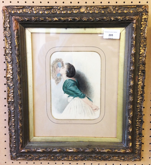 Lot 205 - A framed & glazed watercolour by John Varley (1778-1842) - Portrait of his wife Jane. Signed in