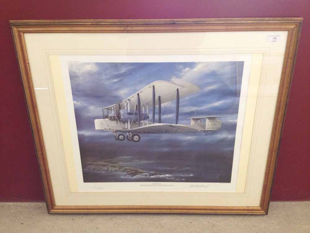Lot 178 - Framed and signed print 'Almost Home' by Peter R Westacott. Depicting Captain John Alcock and