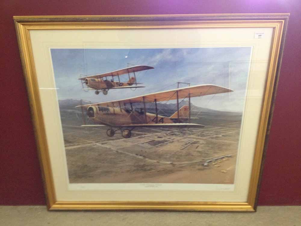 Lot 209 - Framed and signed print 'Columbus New Mexico 1916. Day One - The Cradle of US Military Airpower'