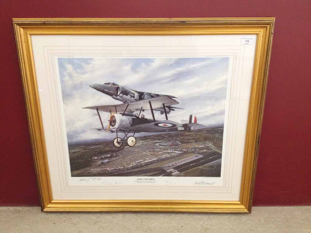 Lot 175 - Framed and signed print 'Now And Then' by Peter R Westacott. A tribute to Sir Thomas Sopwith and