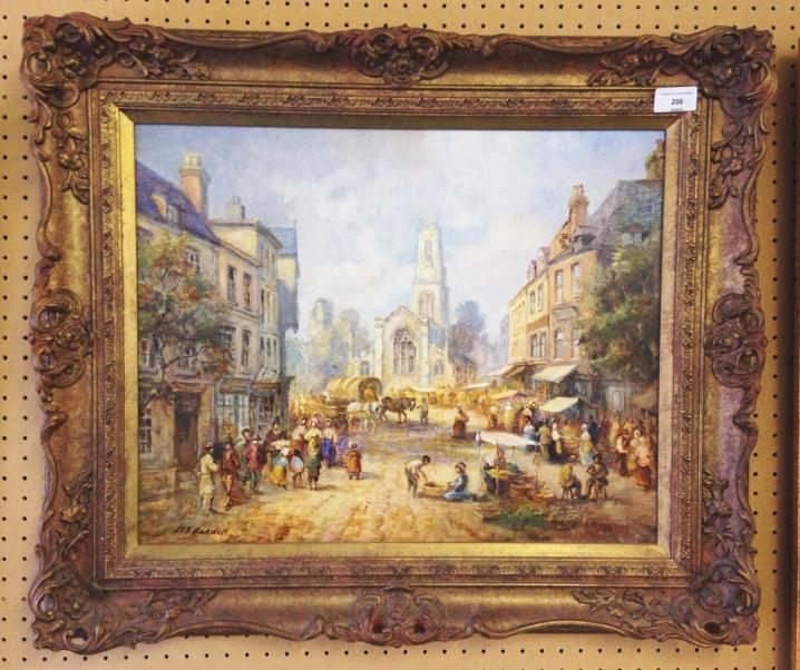 Lot 206 - A gilt framed oil on board 'Market Scene' by M.J Rendell (slade school). 56 x 66cm.