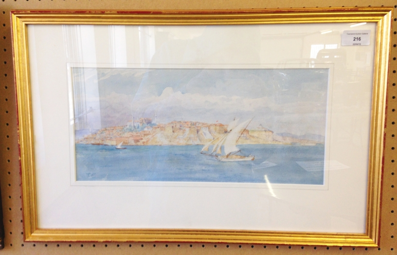 Lot 216 - A 19th/early 20th century framed & glazed watercolour of Constantinople by Tristam James Ellis (