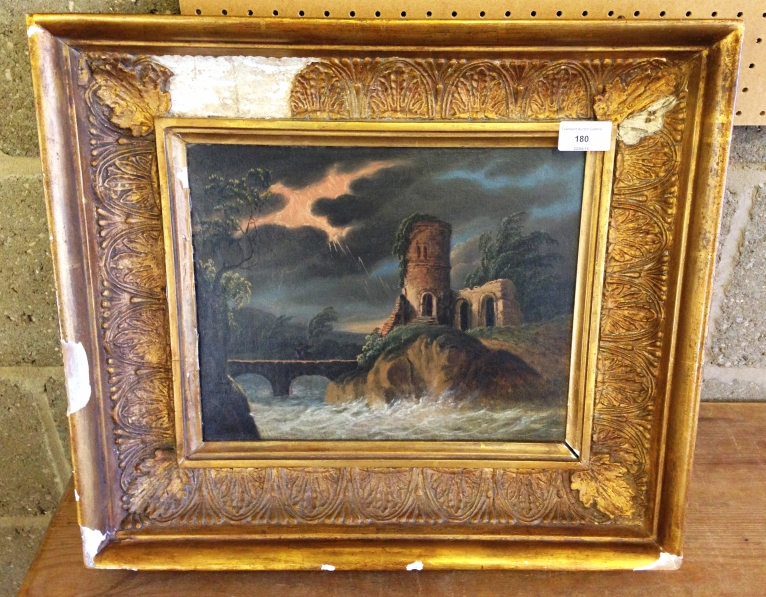 Lot 180 - A framed late 17th century /early 18th century oil on canvas of a ruined castle in a storm.