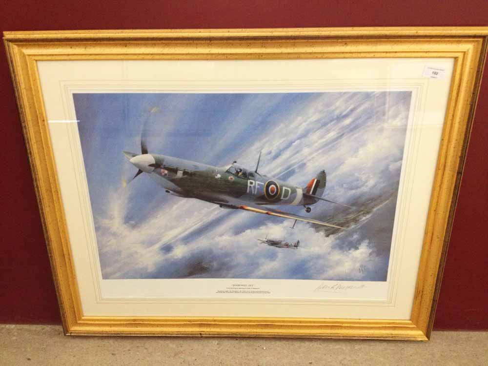 Lot 192 - Framed and signed print 'Borrowed Sky' by Peter R Westacott. Depicts squadron leader Jan Zambach V.M