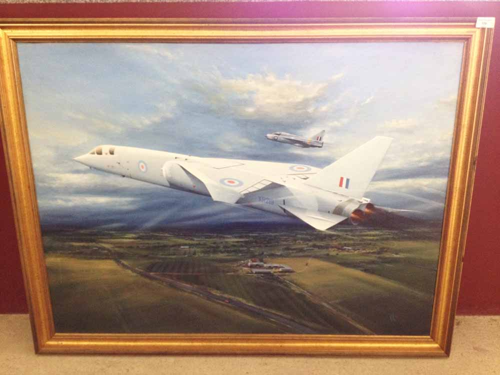 Lot 170 - Framed acrylic on canvas original painting 'Cancelled' by Peter R Westacott. Of an early test flight