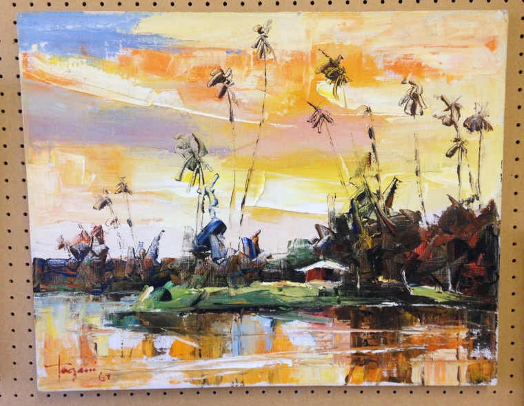 Lot 208 - An oil on canvas - Hiroshi Tagami (1928-2014) Hawaiian artist - Sunrise Sunset 1967. 41cm x 51cm (
