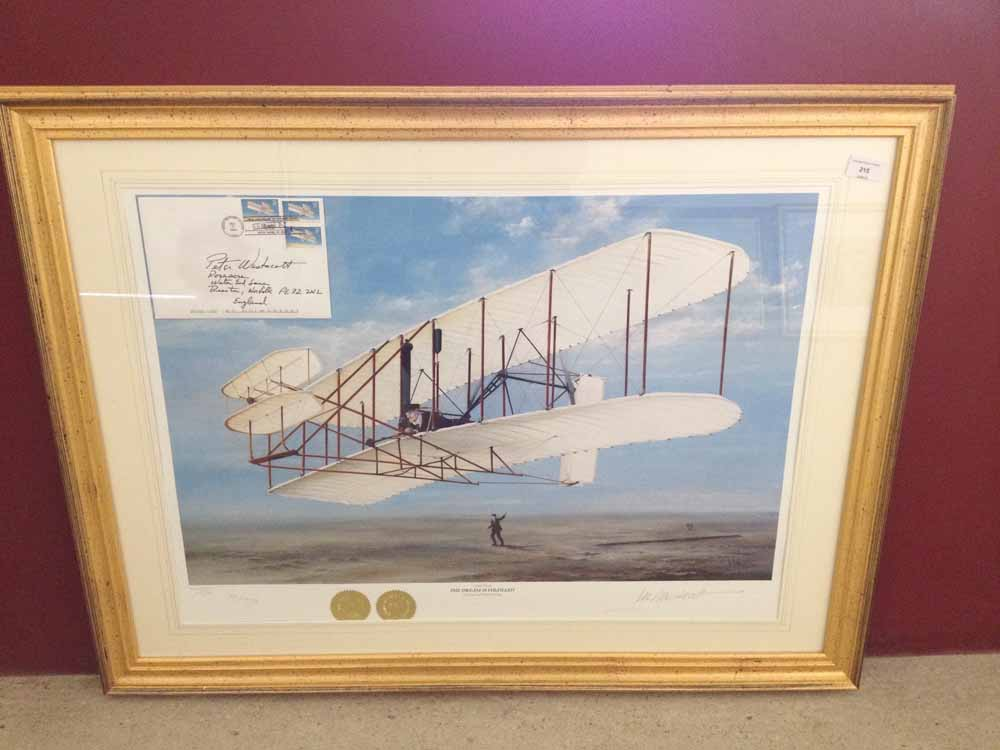 Lot 215 - Framed and signed print 'The Dream is Fulfilled' by Peter R Westacott. Produced to celebrate the