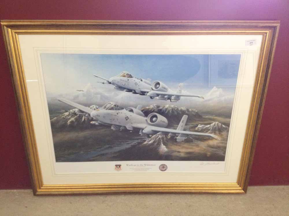 Lot 213 - Framed and signed print 'Warthogs in the Wilderness' by Peter R Westacott. Depicting Michigan Air