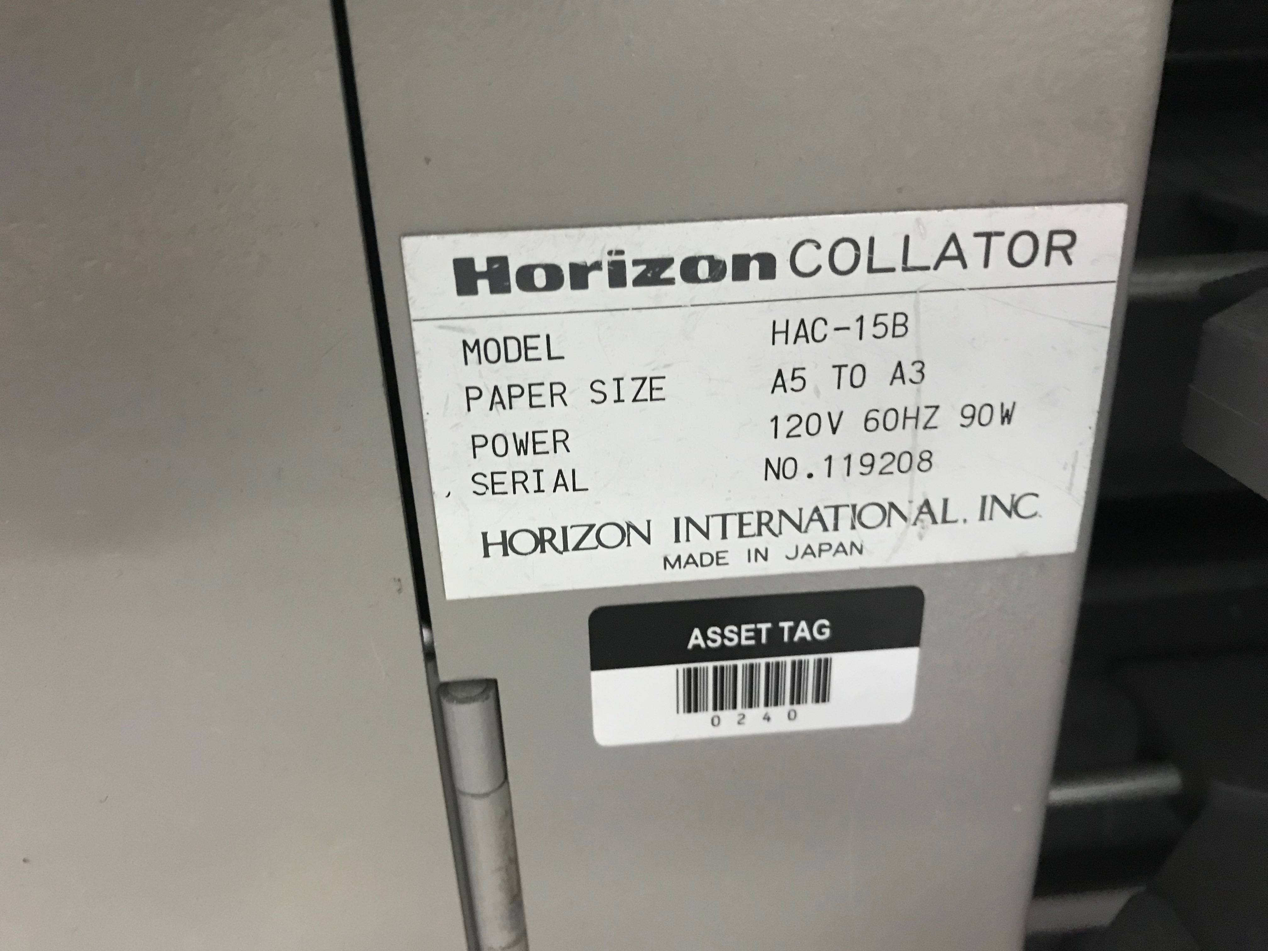 Horizon Vertical Collator, Model# HAC-15B, Serial# 119007, Paper Size A5 to A3, 120 V, 60 Hz, 90 - Image 4 of 7