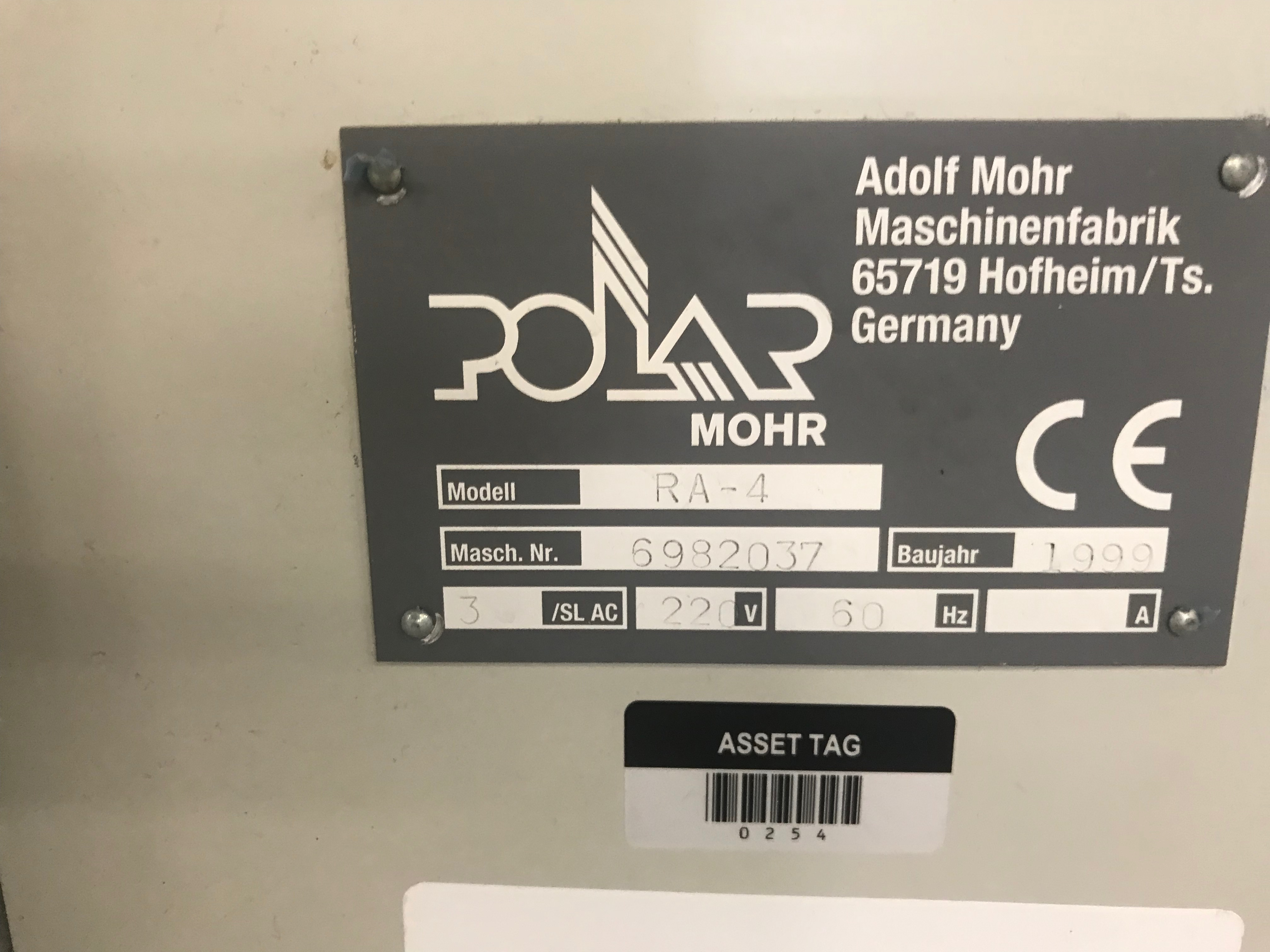Polar-Mohr Automatic Jogger, Model# RA-4, Serial# 6982037, 3 Phase, 220 V, 60 Hz, 61 in wide x 51 in - Image 2 of 4