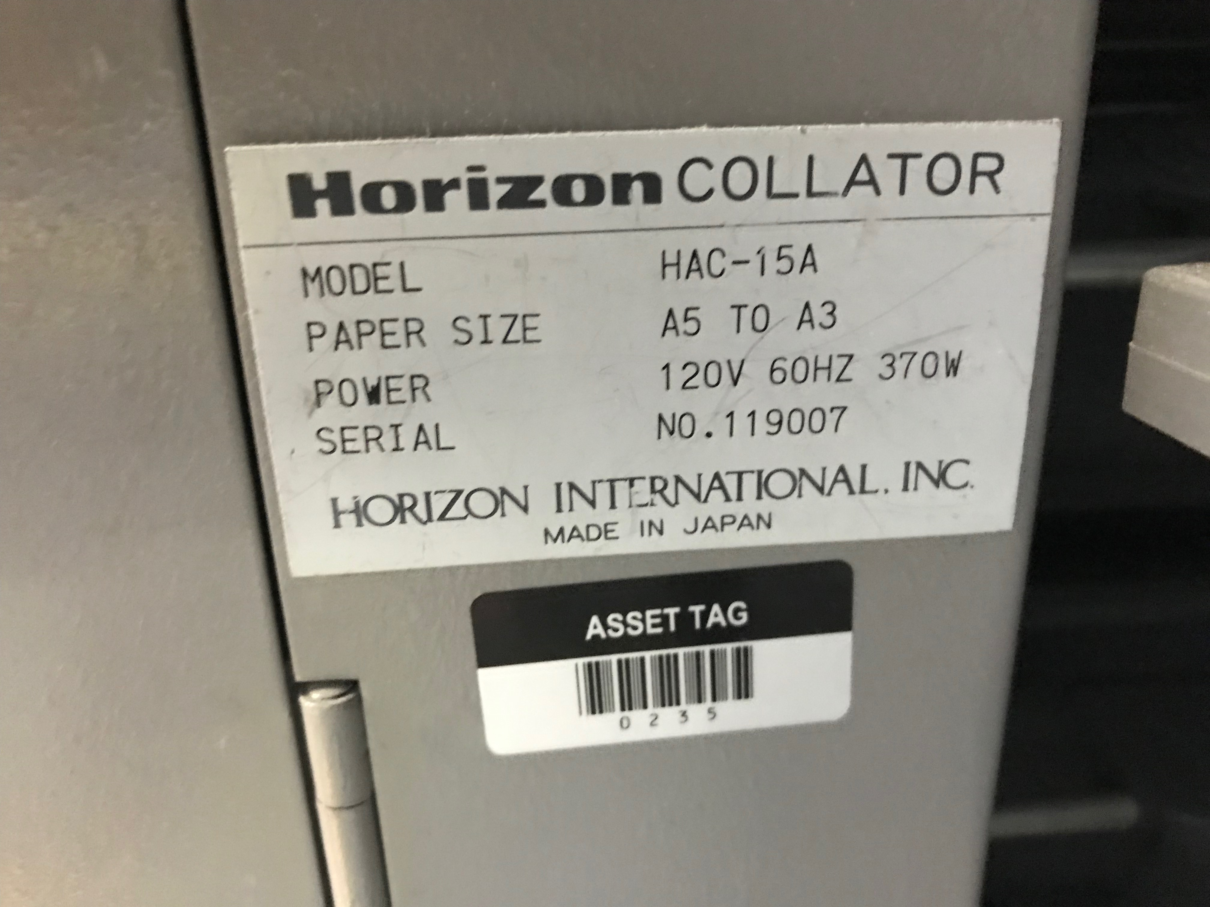 Horizon Vertical Collator, Model# HAC-15B, Serial# 119007, Paper Size A5 to A3, 120 V, 60 Hz, 90 - Image 3 of 7