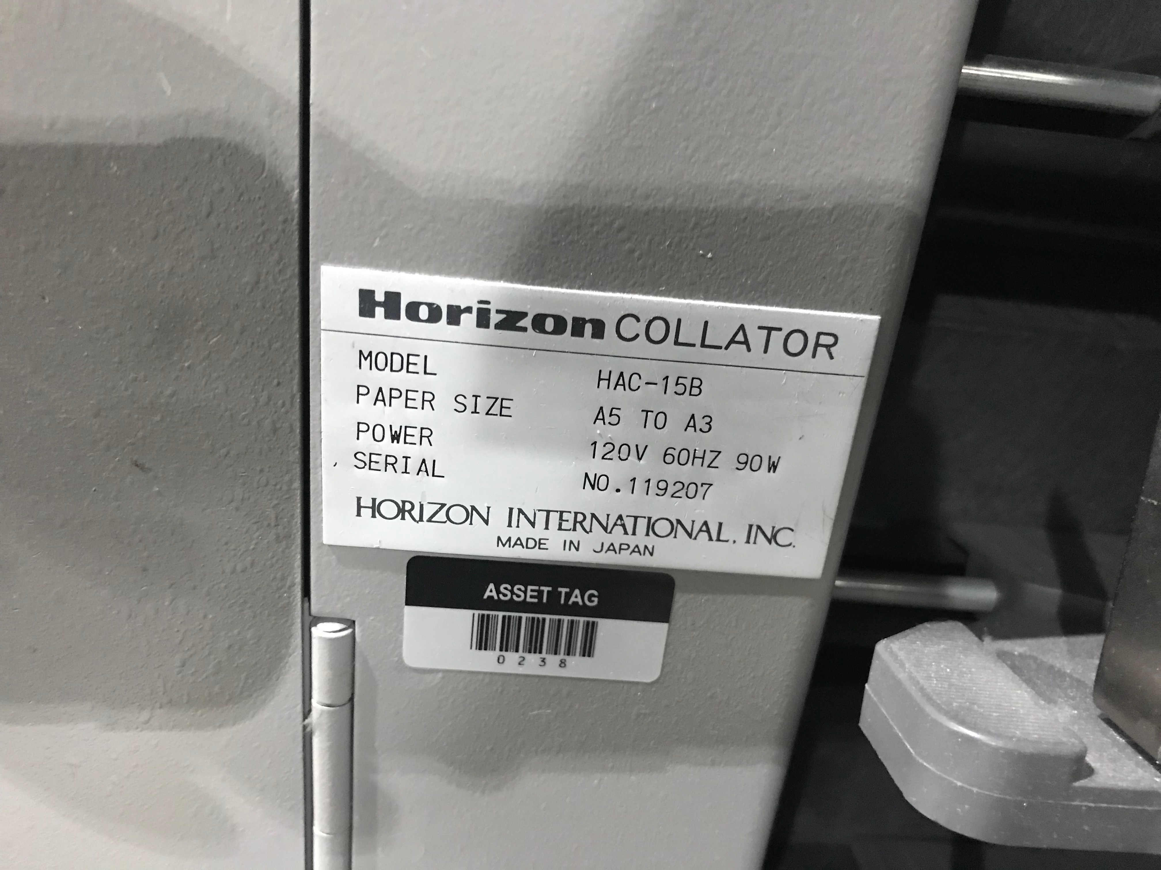Horizon Vertical Collator, Model# HAC-15B, Serial# 119207, Paper Size A5 to A3, 120 V, 60 Hz, 90 - Image 4 of 8