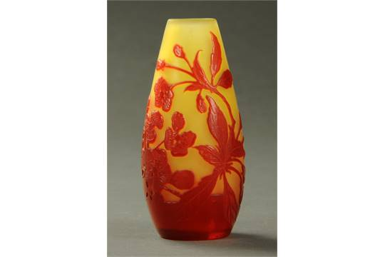 An Emile Galle Cameo Glass Solifleur Vase Red Overlaid With Flowers