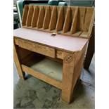 Wooden Storage Rack & Work Table w/ Drawer