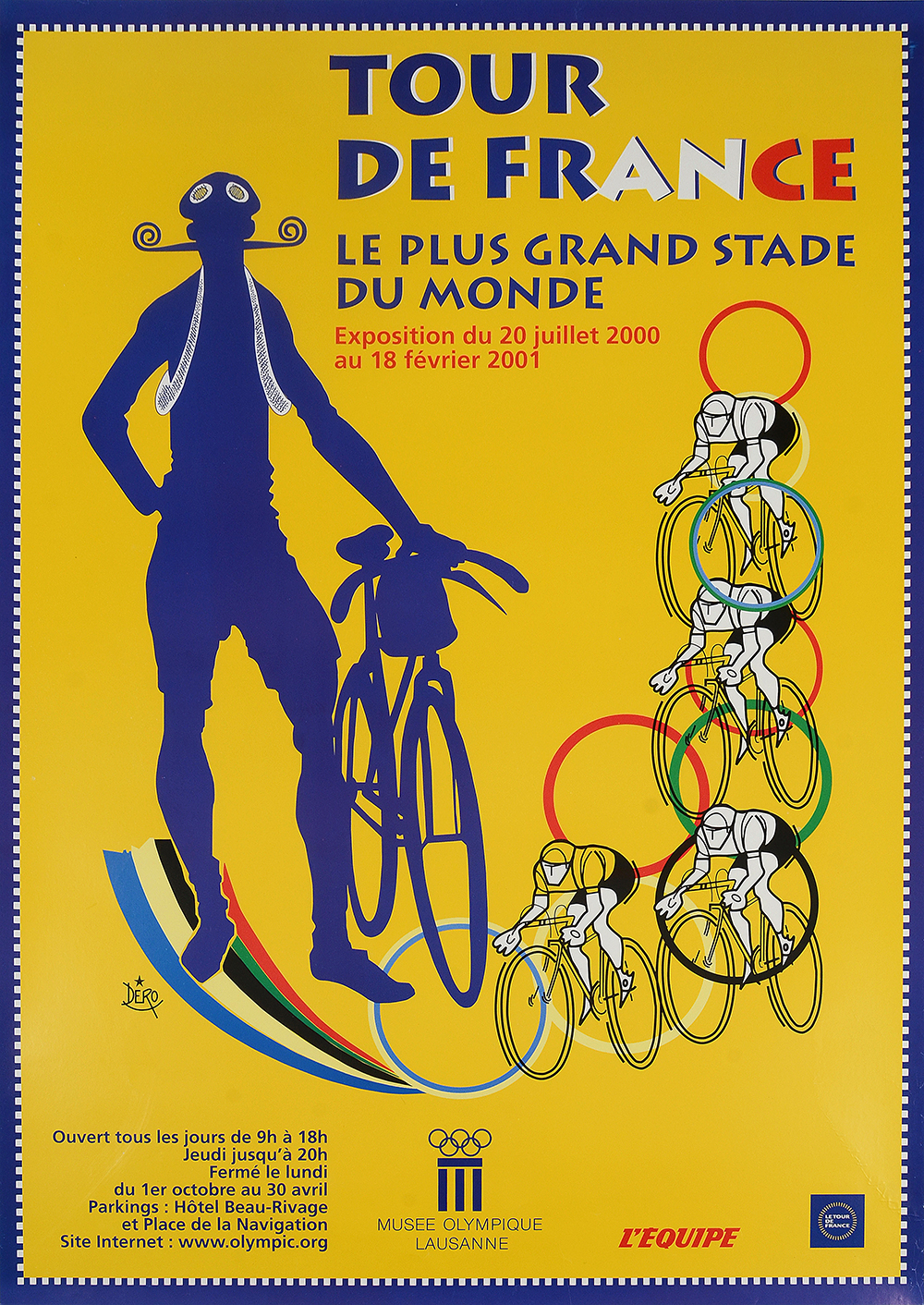 affiche de l exposition tour de france le plus grand stade du monde au mus e olympique de laus. Black Bedroom Furniture Sets. Home Design Ideas