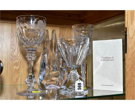 THREE BOXED COMMEMORATIVE GLASS GOBLETS, comprising a Gaius limited edition Harcourt Goblet with heraldic Coat of Arms produc