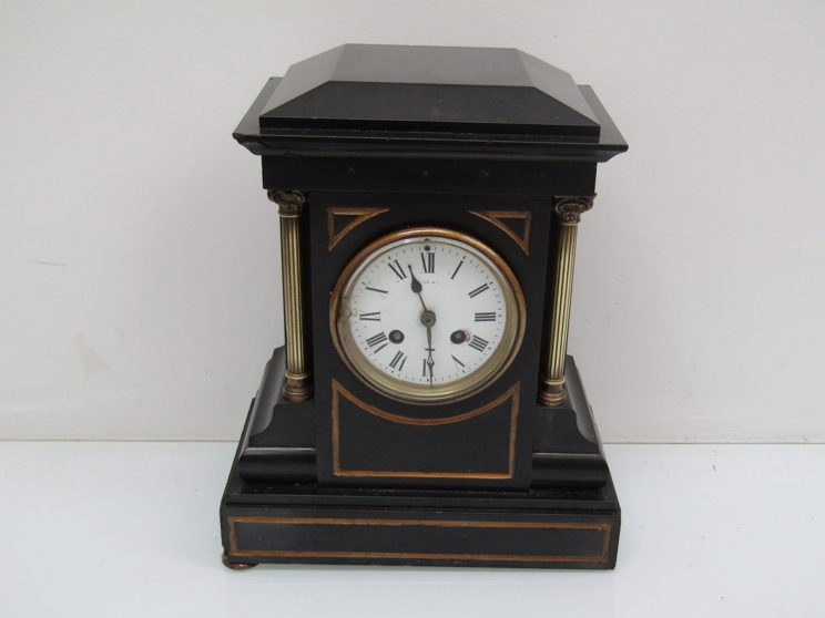 Lot 9058 - A Victorian slate mantel clock with 8 day French drum movement signed Maple & Co Paris, 32.