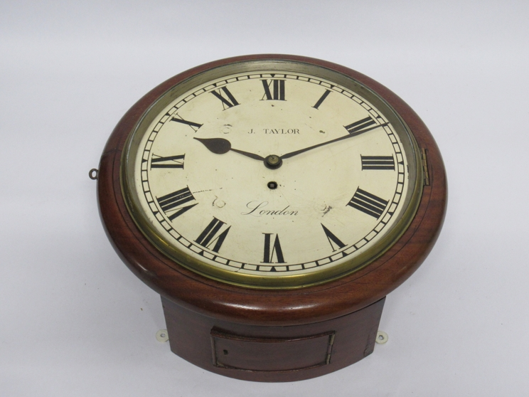 "Lot 9009 - A 19th Century mahogany cased 12"" dial clock with painted metal Roman dial signed J."