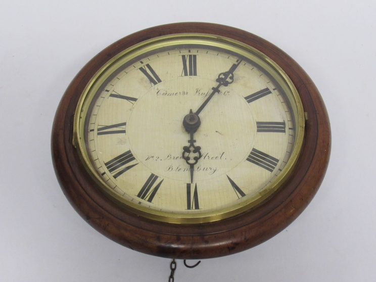 Lot 9018 - A Victorian mahogany postman's clock, painted wooden Roman duial signed Camerer, Kuss & Co,