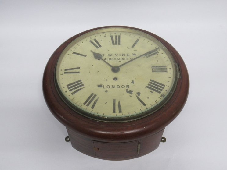 """Lot 9004 - A 19th Century mahogany cased 12"""" dial clock, painted metal Roman dial signed T.W."""