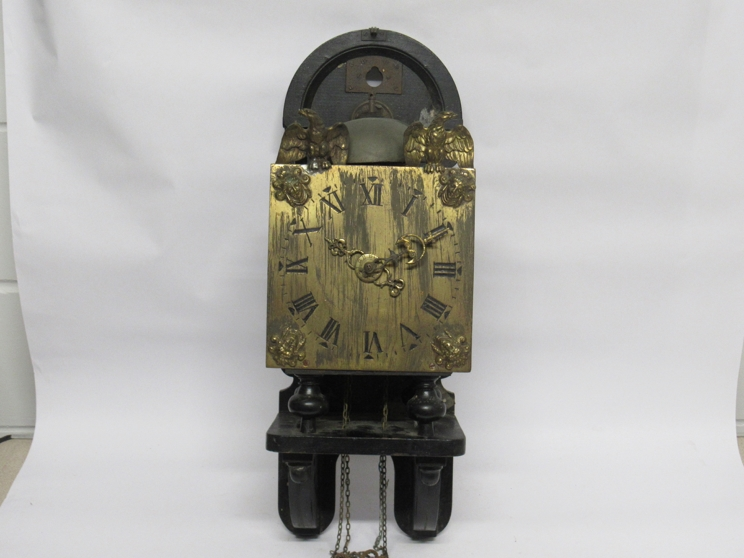 Lot 9028 - An 18th/19th Century Dutch wall clock with brass square Roman dial,