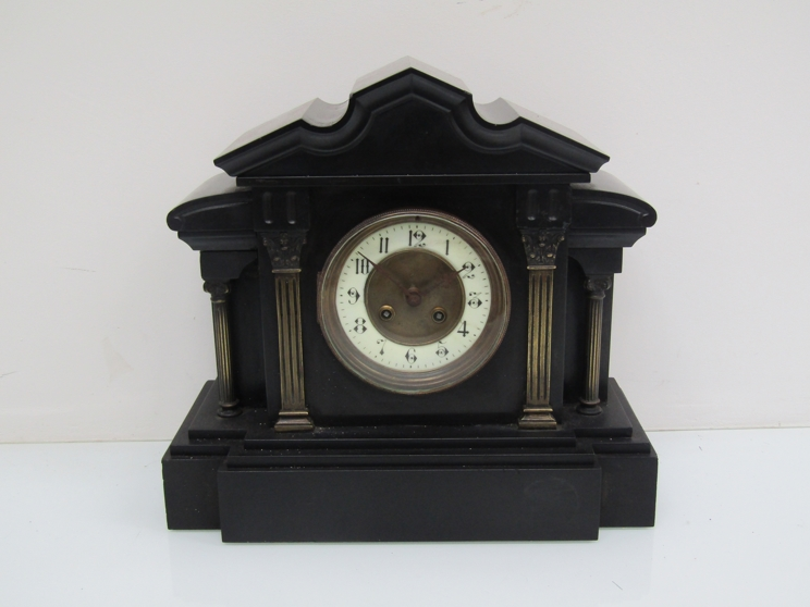 Lot 9047 - A 19th Century slate mantel clock of architectural form, French drum striking movement,