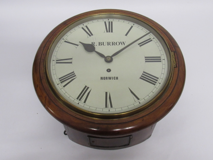"""Lot 9003 - A 19th Century mahogany 12"""" dial clock with painted metal Roman dial signed R."""
