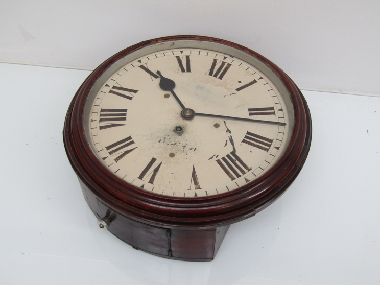 """Lot 9007 - A 19th Century mahogany 12"""" dial clock with painted metal Roman dial (a/f) housing a chain driven"""