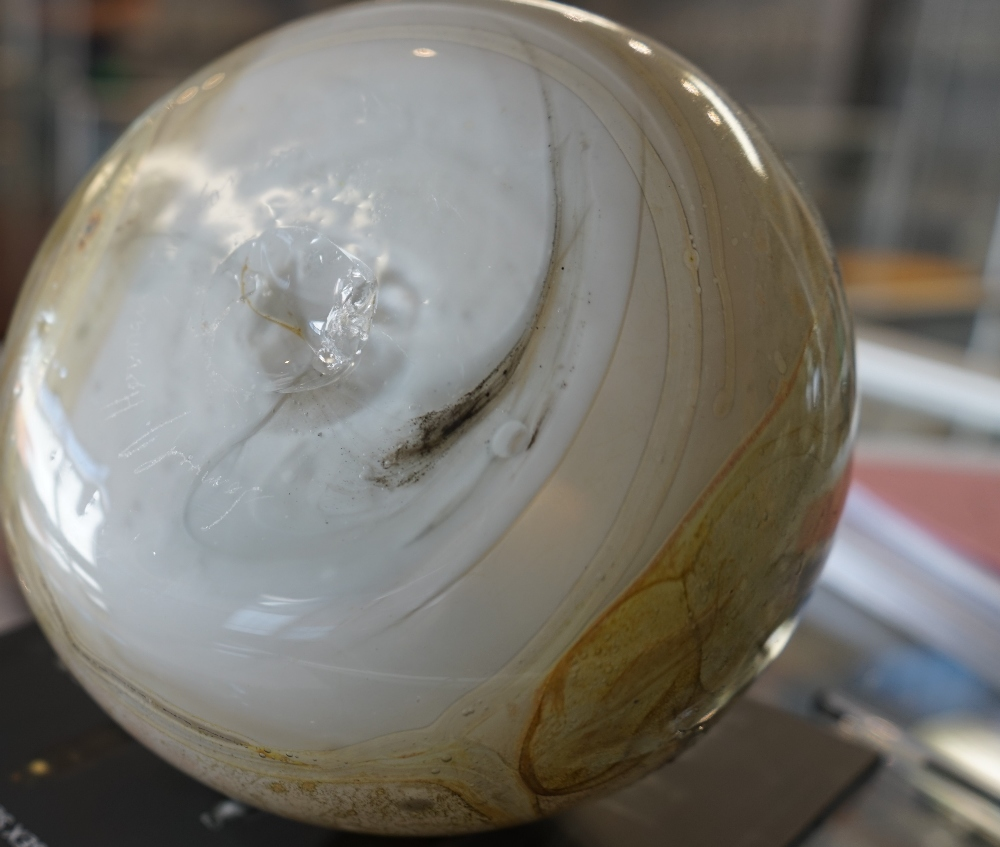 Sam Herman (born 1936), a studio glass vase, dated 1971, bulbous form with short neck and wavy rim, - Image 3 of 7