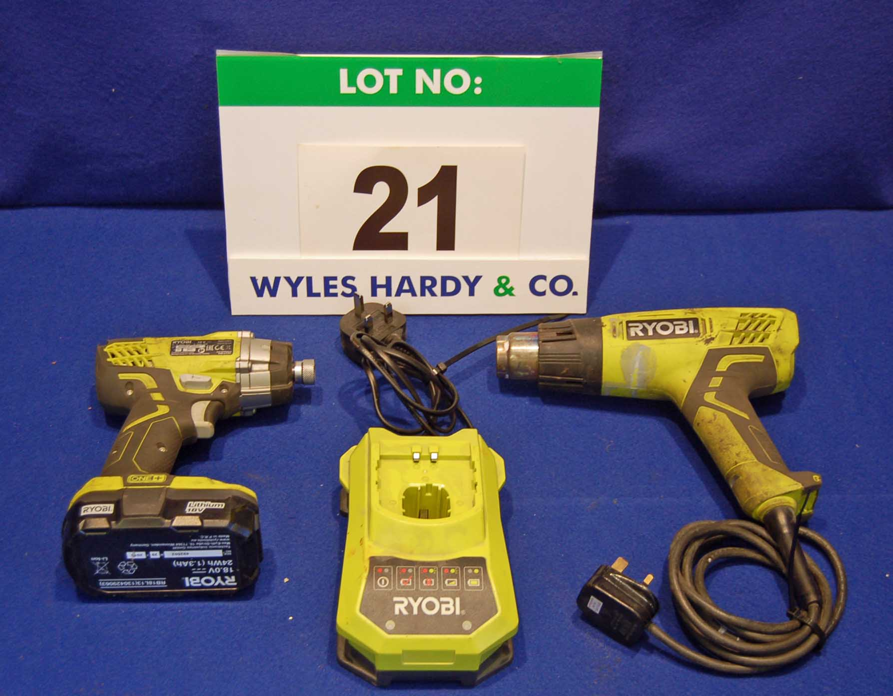 Lot 21 - A RYOBI ONE Plus RID1801M 18V Cordless Impact Driver and A RYOBI Hot Air Gun (240V)