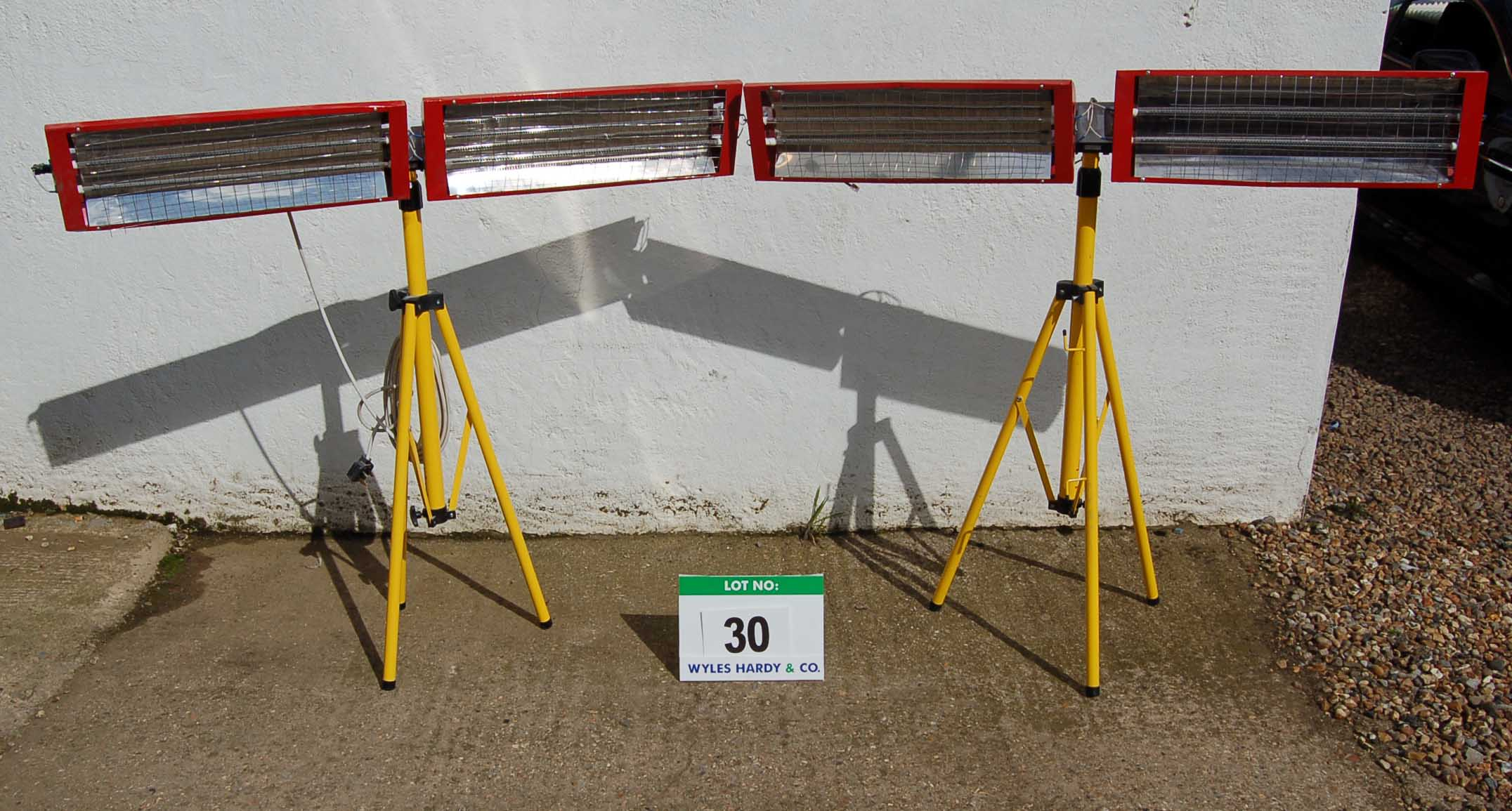 Lot 30 - Two Twinhead Infra Red Paint Curing Units on Tripod Stands (As Photographed)