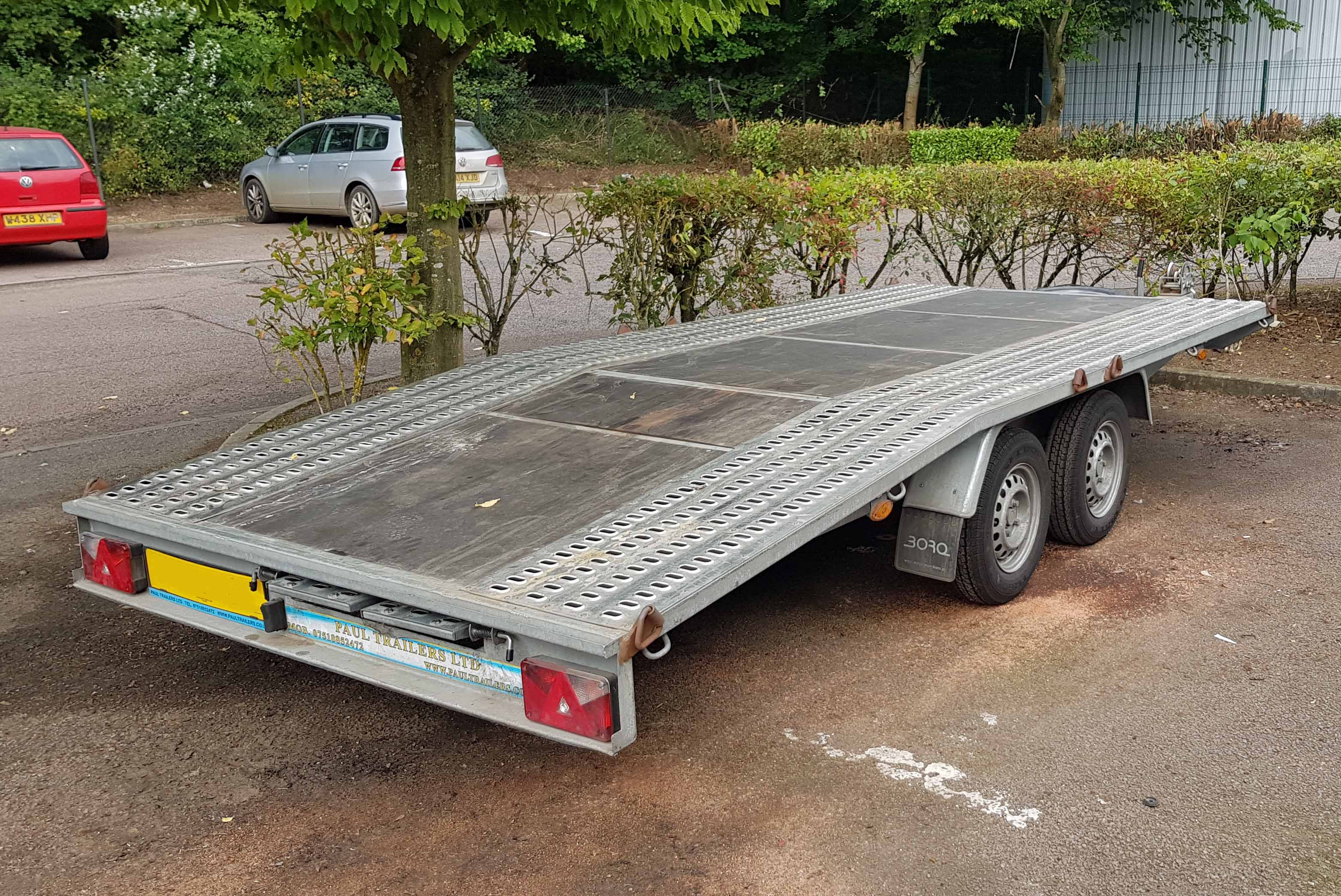Lot 36 - BORO Model E946.0039 Galvanised Steel Beavertail Twin Axle 4.5M Long Flatbed Vehicle Trailer,