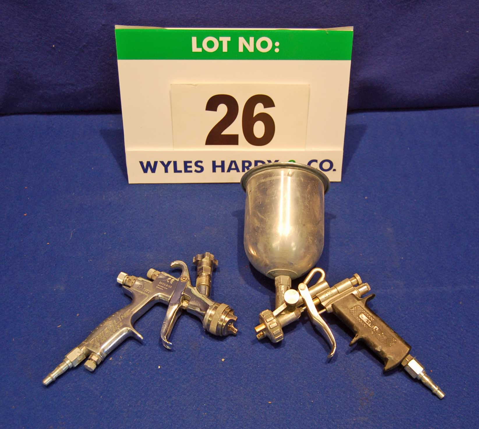Lot 26 - A DEVILBISS Finishline Gravity Feed Spray Gun and A SEALEY Gravity Feed Spray Gun with Paint Pot