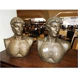 *Pair of Simulated Bronze Busts of Roman Figures