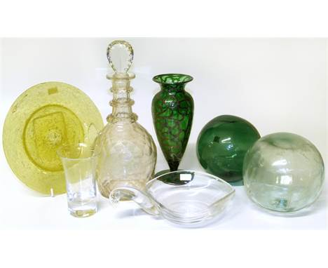 Silver enamel overlay glass vase, Steuben dish, 19th C Decanter, two boat bouys and other glassware. Condition reports are no