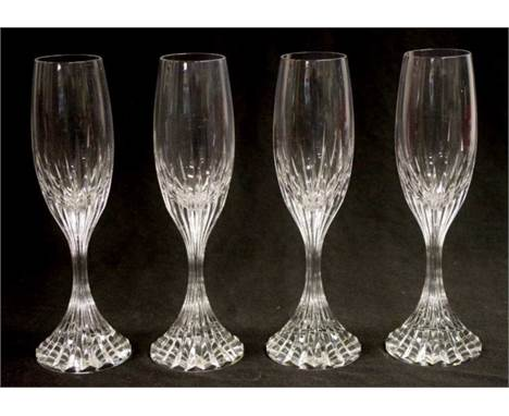 Set four Baccarat crystal champagne flutes each pair of matching crystal flutes in original fitted box, (height 22cm approx,