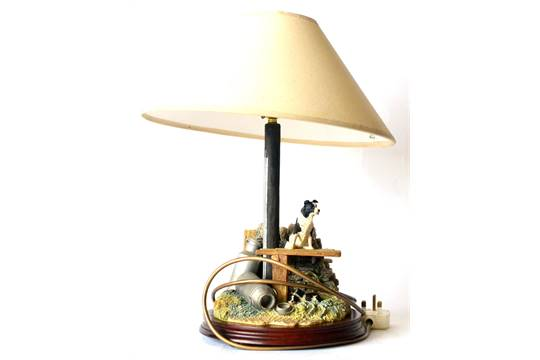Border Fine Arts U0027In The Shadeu0027 Table Lamp (Border Collie Pups), Model No.  B0218 By Ray Ayres, On